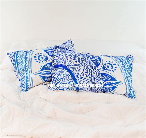 turquoise bed pillows turquoise blue white long leaf boho mandala bed pillow