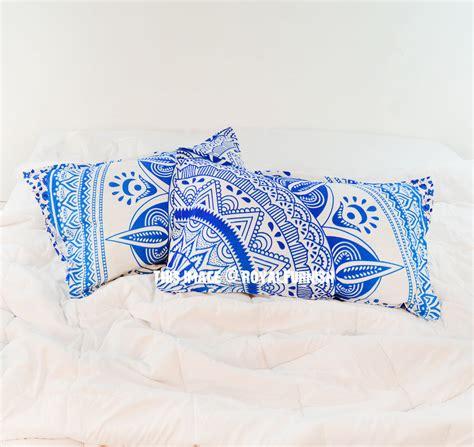 turquoise bed pillows turquoise blue white long leaf boho mandala bed pillow