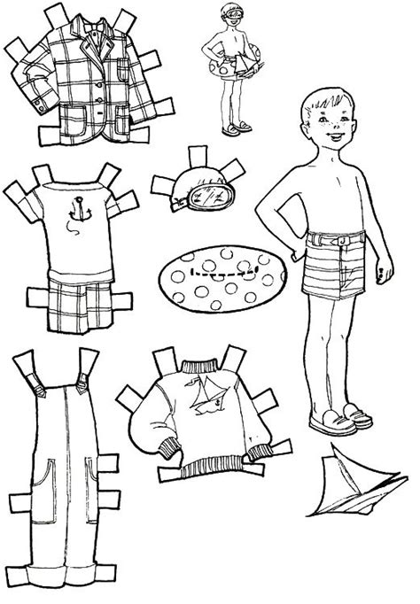 boy doll coloring page kids fun vacation paper dolls kids fun pinterest