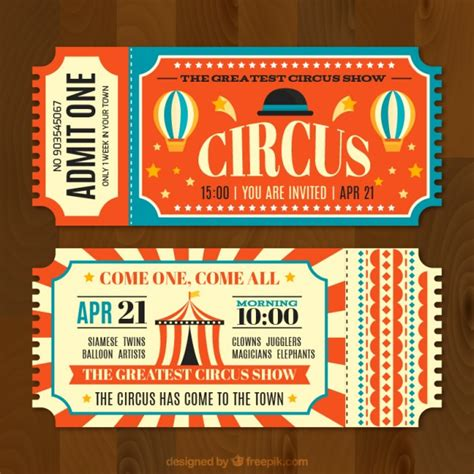 printable circus tickets circus tickets in vintage style vector free download