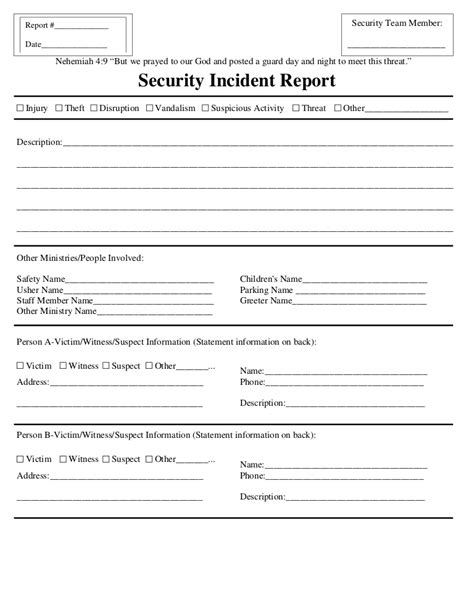sle of security guard incident report security incident report
