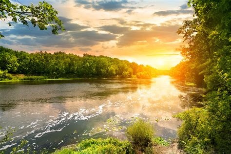 sunset   river   forest hd  foto
