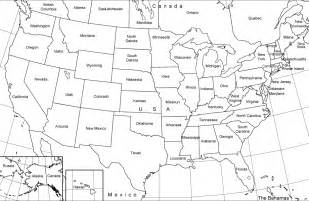 united states black and white outline map