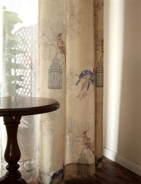 rustic style curtains linen curtains american rustic style curtains for living room birds printed drapes home decor