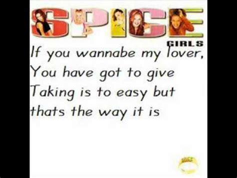lyrics spice girl wannabe spice girls wannabe lyrics youtube