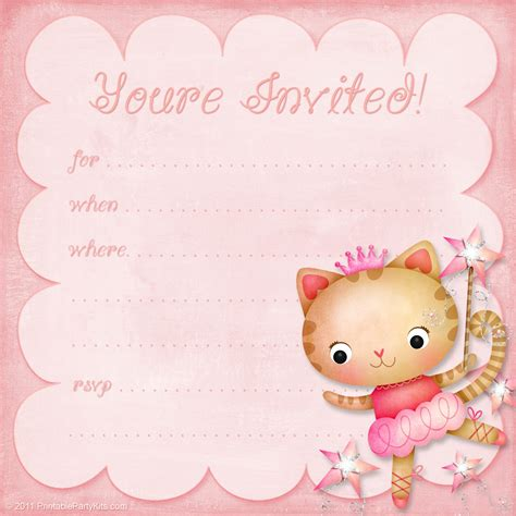 little girl printable birthday invitations girls birthday party invitation princess ballerina