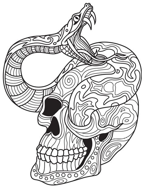 skull coloring book snake and skull colorish coloring book app for adults