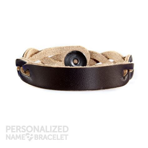 personalized leather bracelet brown id personalized