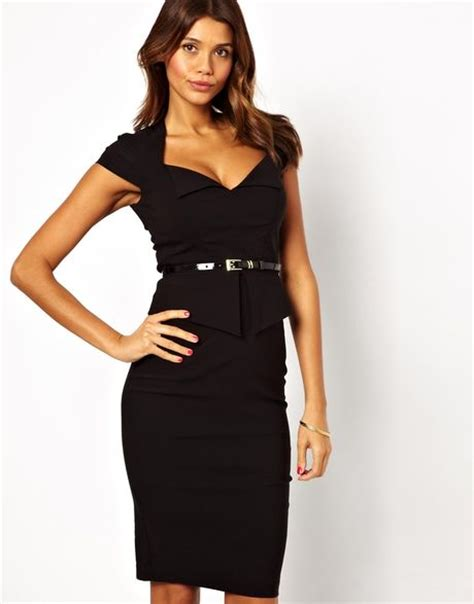 asos pencil dress with peplum and belt in black lyst