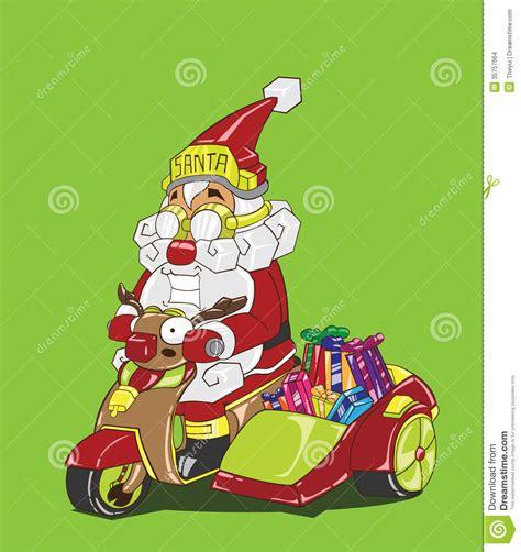 animated santa driving santa claus motorcycle delivery royalty free stock photo cartoondealer 45552303
