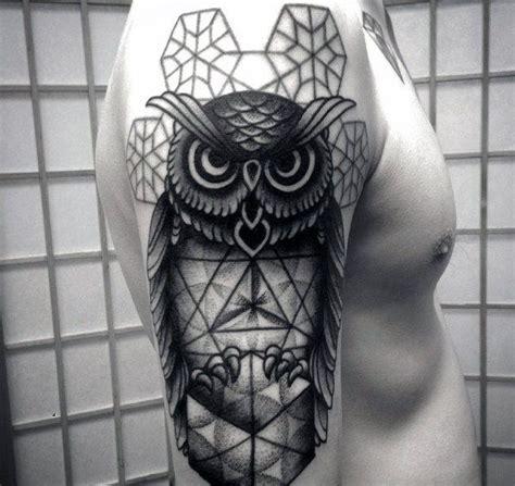 tattoo owl geometric manly geometric owl arm tattoo designs for men male