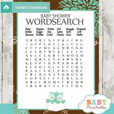 printable owl word search tiffany blue owl baby shower games bundle d124