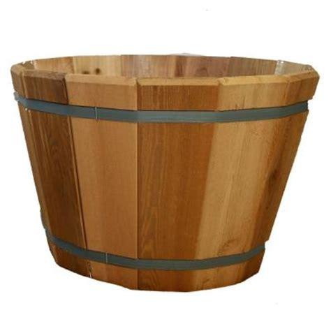Cedar Barrel Planter by 24 In Dia Cedar Barrel Planter G3000 The Home Depot