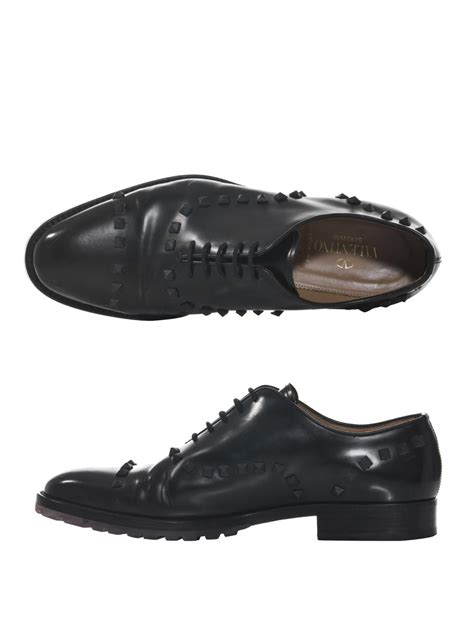 valentino oxford shoes lyst valentino studded laceup oxford shoes in black for