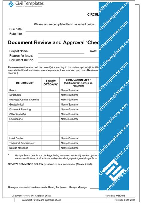 Project Management Document Templates Civil Engineering Templates Document Circulation Template
