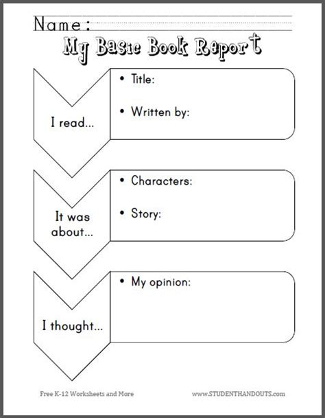 graphic organizers for book reports my basic book report for primary grades free to print