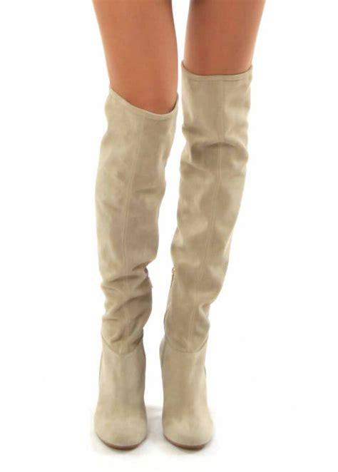 pinko beige suede over the knee boots uk 4 eu 37 ebay