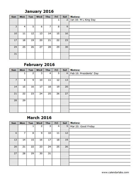 printable calendar first quarter 2016 2016 three month calendar template 12l free printable