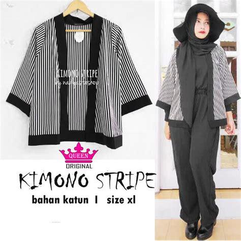 Baju Kimono Stripe baju muslim modern kimono grosir baju muslim