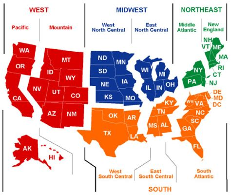 map of us states by region map of united states regions for