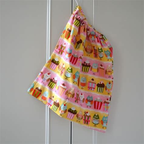 Handmade Drawstring Bags - handmade by drawstring bag owls cupcakes rosy rosie