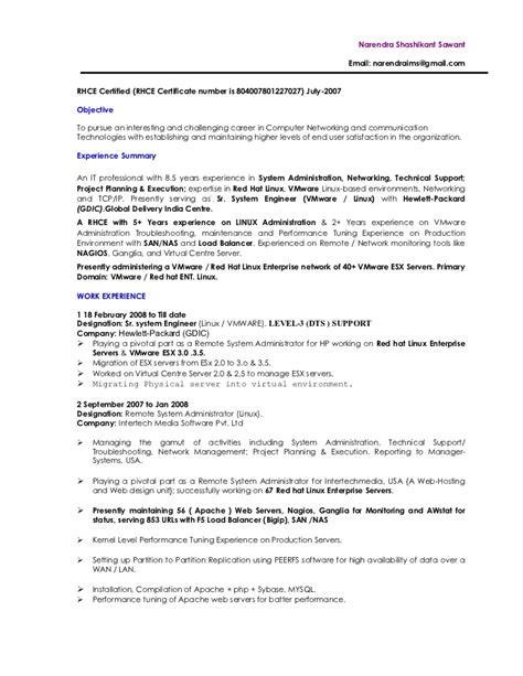 Unix Resume Job by Vmware Linux Administrator