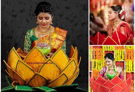 Online Shopping For Home Decoration modern telugu bride in traditional basket pelli poola jada