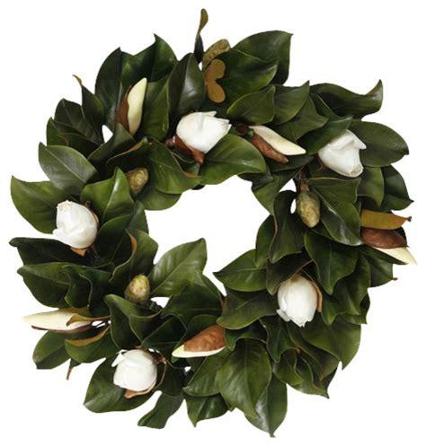 magnolia bud wreath white traditional artificial