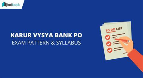 karur vysia bank kvb po pattern detailed syllabus 2017 karur vysya