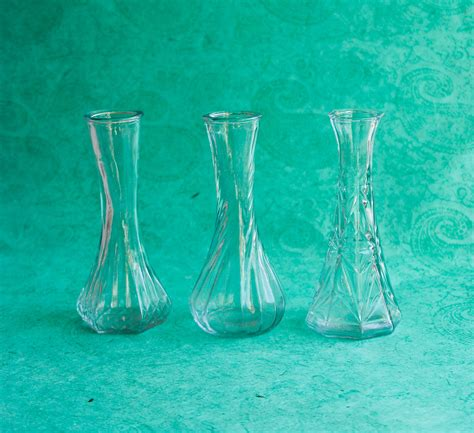 Vase Clear Glass by Clear Glass Vintage 12 Bud Vase Collection 6 Bud Vases