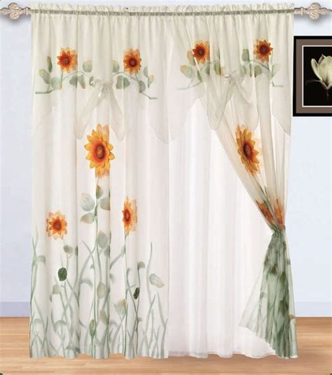sunflower valance curtains 2 panels white green 3d sunflower window curtain drapes w