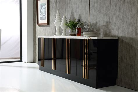 Italian Design Black Modern Buffet Cabinet With Marble Black Modern Buffet