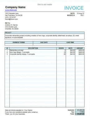 144 free invoice templates for any business in excel and word