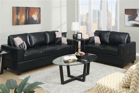 faux leather couch set f7598 sofa loveseat set in black faux leather by poundex