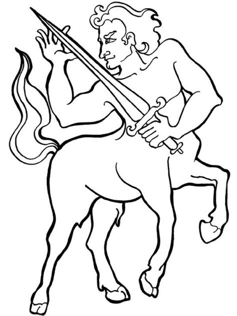 coloring page kids com centaur knight with sharp sword coloring page kids play