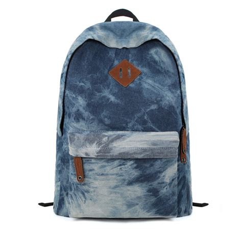 Denim Backpack zlyc denim dye backpack canvas backpack school bag sports outdoors