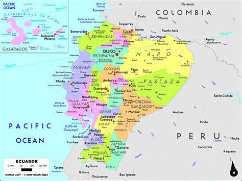 ecuador on map ecuador political wall map maps