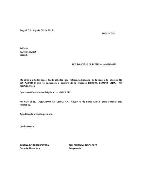 solicitar certificacion bancaria en bancolombia carta ref bancaria