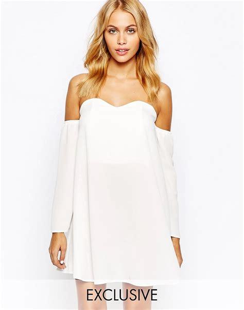 off the shoulder swing dress love love off shoulder swing dress at asos