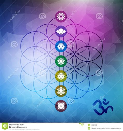 Mothers Day Card by Sacred Geometry Flower Of Life With Chakra Icons Stock Vector Image 66352633