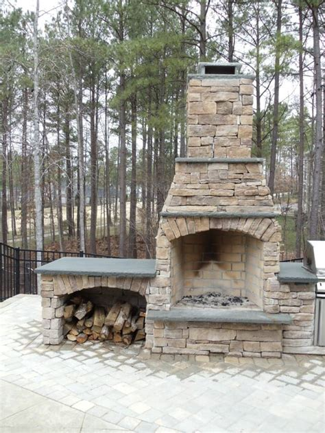 outdoor stone fireplace fireplace stone fireplace and wood box dickoatts