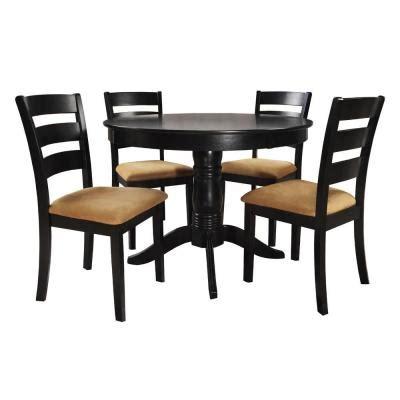Black Ladder Back Dining Chairs Homesullivan 42 In Black Dining Set With Ladder Back Side Chairs 5 Discontinued
