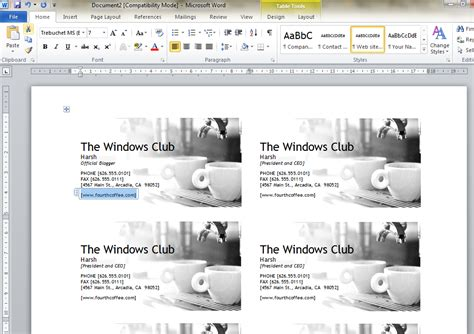 how to design business cards using microsoft word