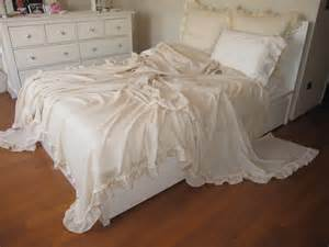 shabby chic ruffled bedding bed cover solid chagne cream