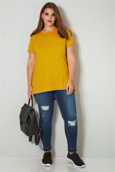 T Shirt S A S Buy Nggifa Name mustard yellow mock pocket t shirt with curved hem plus