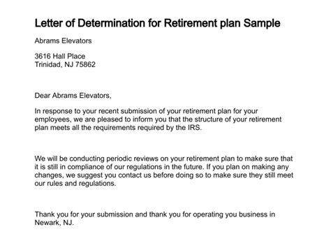 Pension Award Letter Exle Best Photos Of Determination Letter Pension Plan Retirement Pension Award Letter Sle Irs