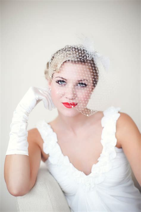 Vintage Wedding Hair With Birdcage Veil by Vintage With Birdcage Veil Onewed