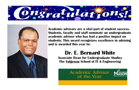 Bernard White dr bernard white academic advisor of the year 2010