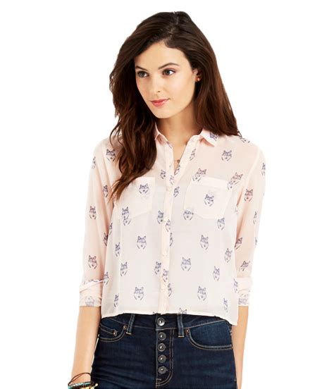 Blouse Cat White Los aeropostale womens sheer wolf button up shirt