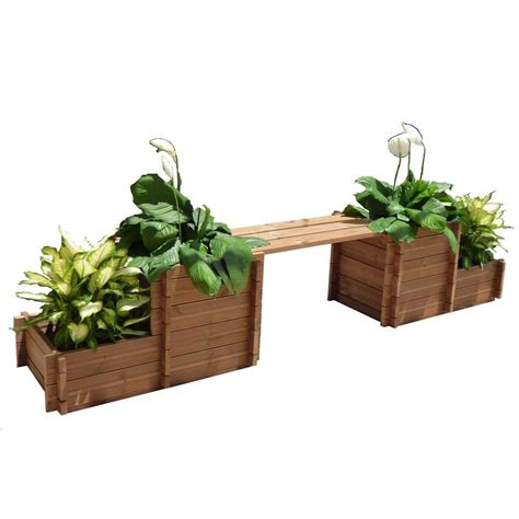 wooden bench with planters thermod 116 in x 34 in wood bench planter th fiona2b